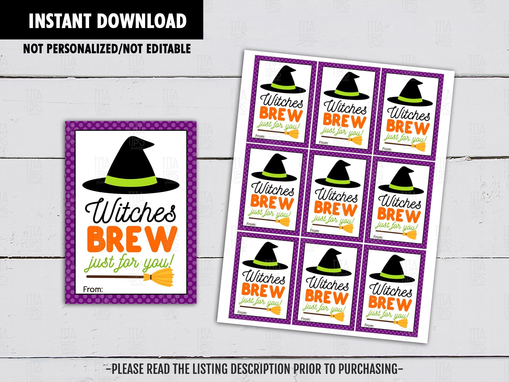 Witches Brew Just for You, Halloween Gifts Ideas, Witch Hat Printables, Potion Drink, Instant Download - TitaTipsPrintables