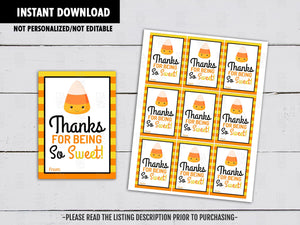 Thanks for being so Sweet, Halloween Gifts Ideas, Candy Corn Printables, Instant Download - TitaTipsPrintables