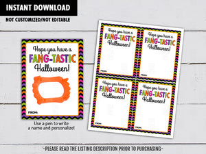 Hope you have a Fang-Tastic Halloween! Vampire Teeth Holder Card, Printable Exchange Tag, Neighbor Gift, Instant Download - TitaTipsPrintables