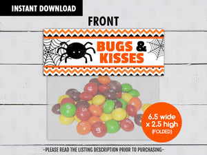 Bugs and Kisses Printable Treat Bag Topper, Halloween Night Goodies Bag, Instant Download - TitaTipsPrintables