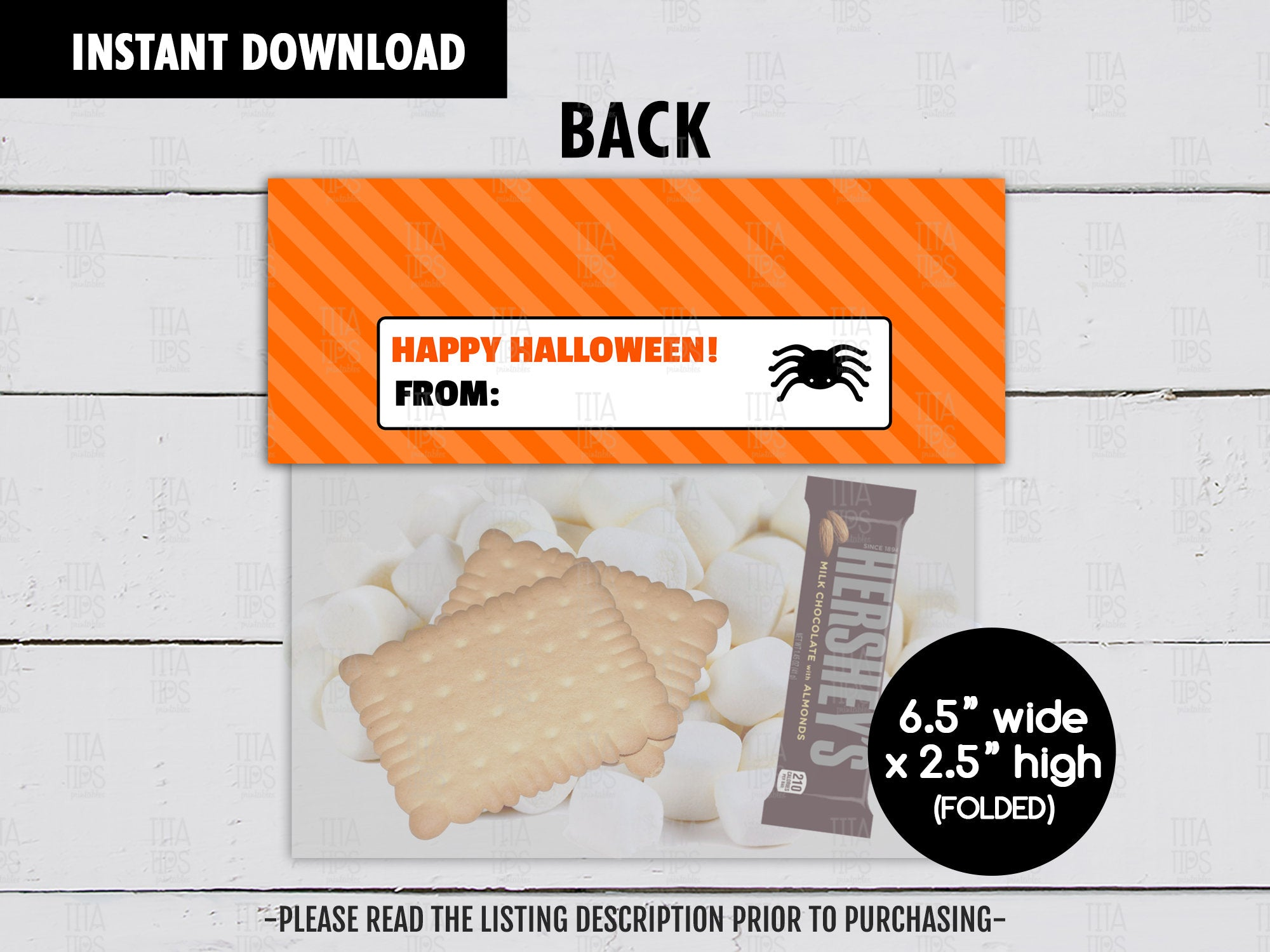 Trick or S'more Treats Bag Topper, Printable Halloween Night Goodies Bag, Instant Download - TitaTipsPrintables