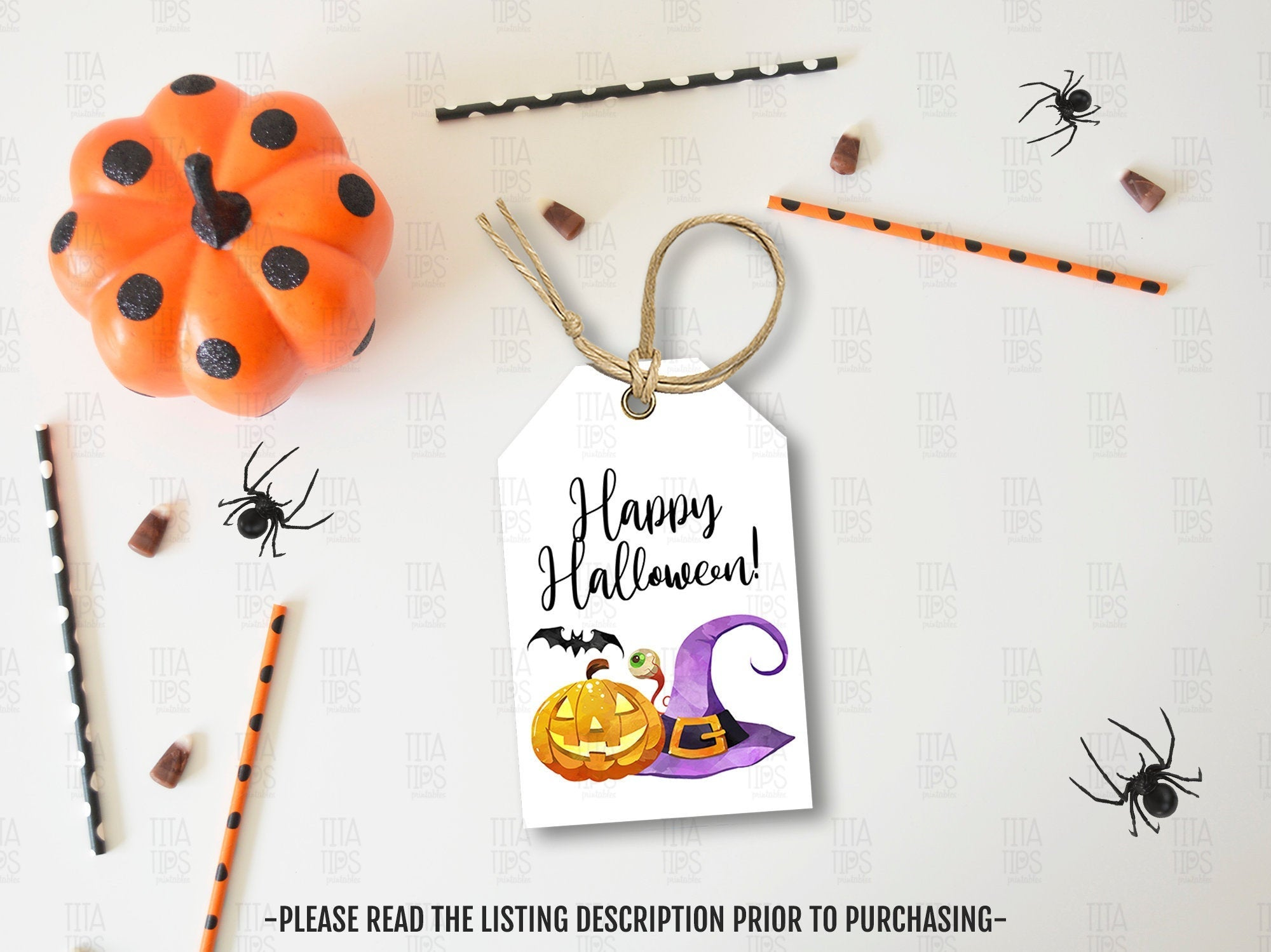 Happy Halloween Gift Tags Ideas, Watercolor Party Favors Tags, Neighbor Gift, Instant Download - TitaTipsPrintables