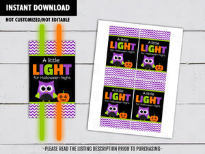 A Little Light for Halloween Night, Halloween Gift Tags Ideas, Glowstick holder,  Instant Download - TitaTipsPrintables