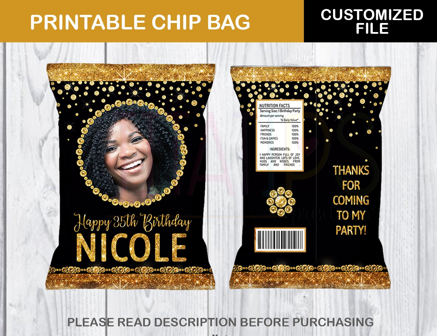 Customized Black and Gold Potato Chip Bag, ANY AGE, Glitter Diamond Favor Bag Template, DIGITAL FILE - TitaTipsPrintables