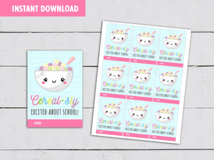 Cerealsly Excited about School, Back to School Gifts Ideas, Cereal Card, Instant Download - TitaTipsPrintables