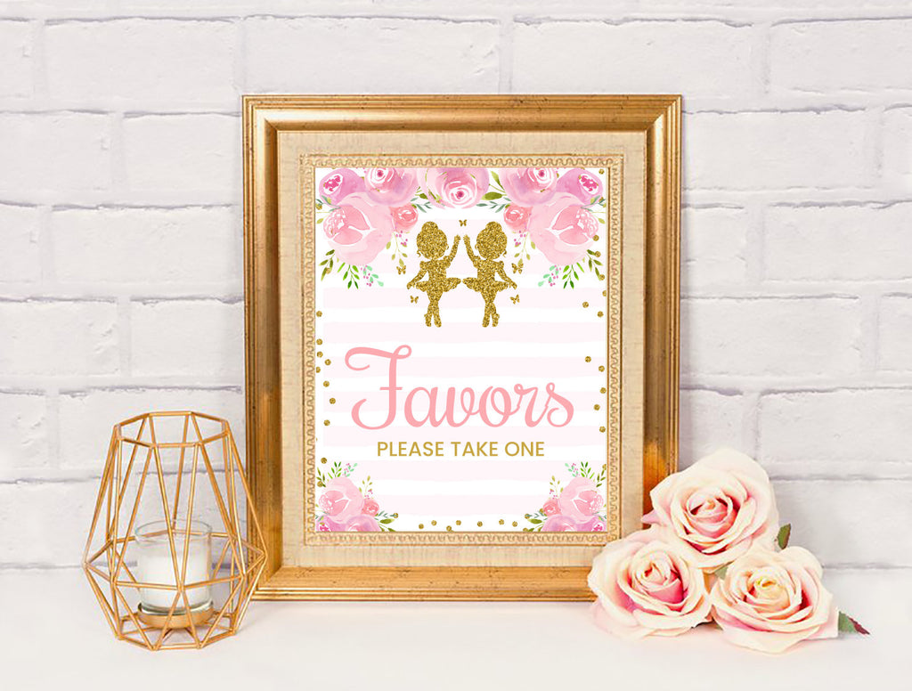 Ballerina Favors Sign, Tutu Dancer Baby Shower Decor, Twin Girls Theme, Instant Download - TitaTipsPrintables