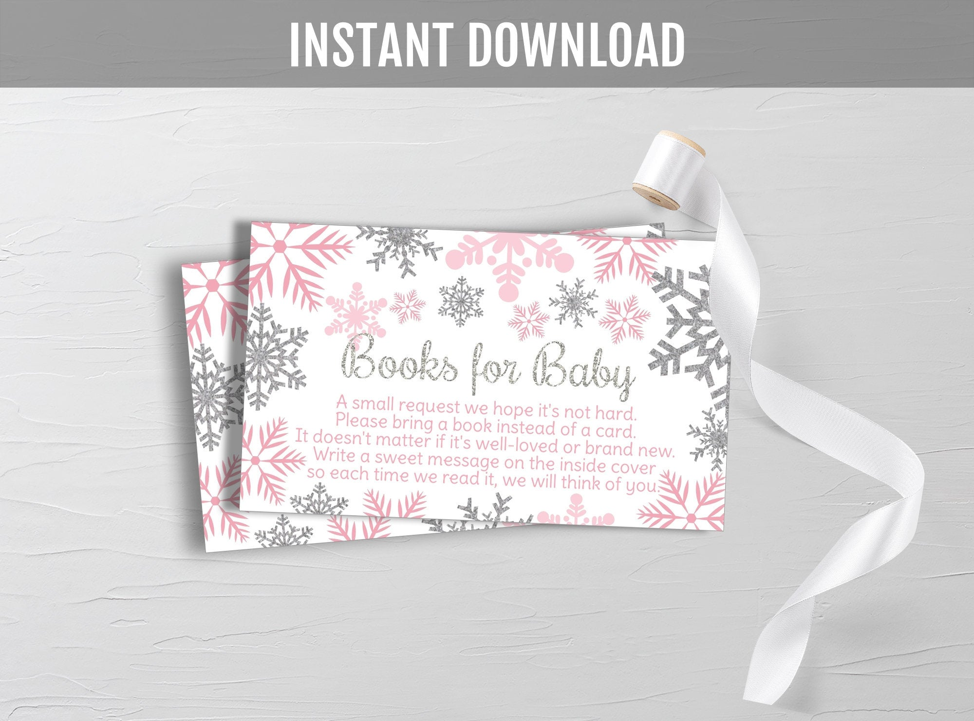 Winter Books for Baby, Pink & Silver Glitter Snowflakes, Book Request, Baby Shower Insert Card, Instant Download - TitaTipsPrintables