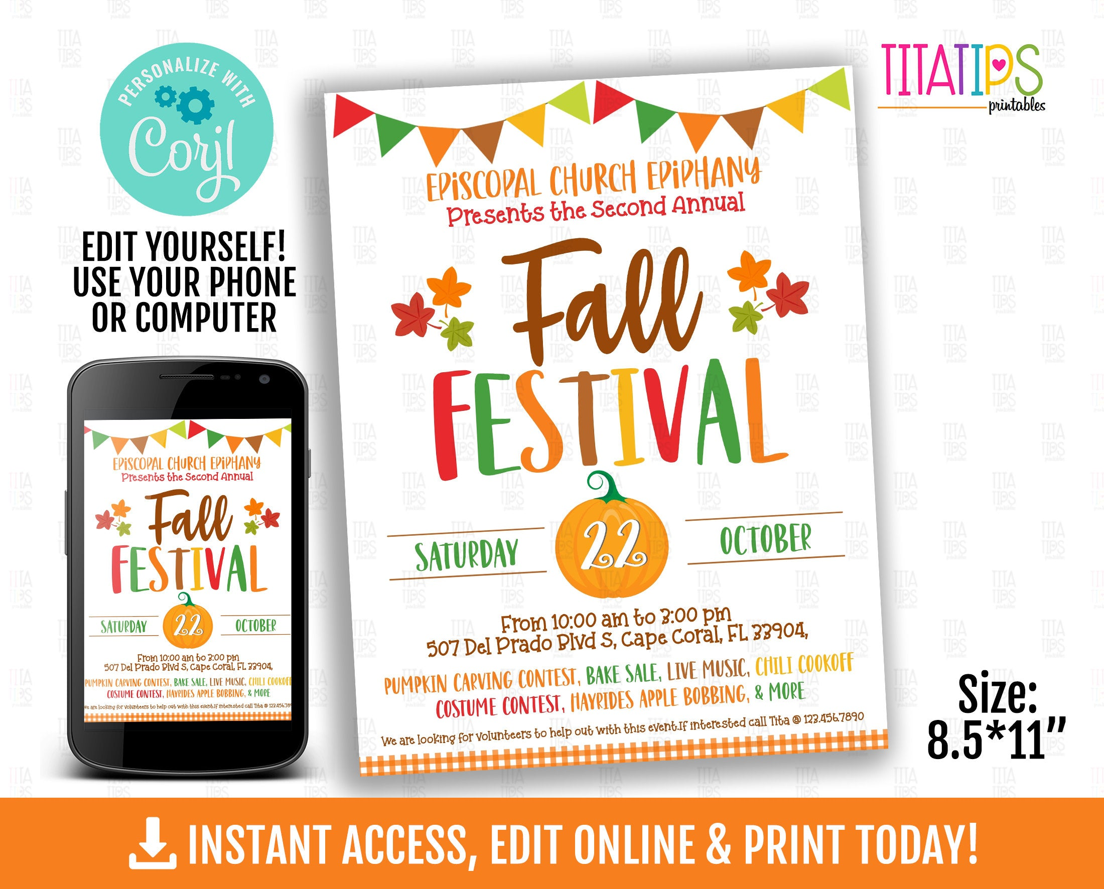 Fall Festival Flyer, Autumn Party Poster, Editable Pumpkin Patch, INSTANT ACCESS - TitaTipsPrintables