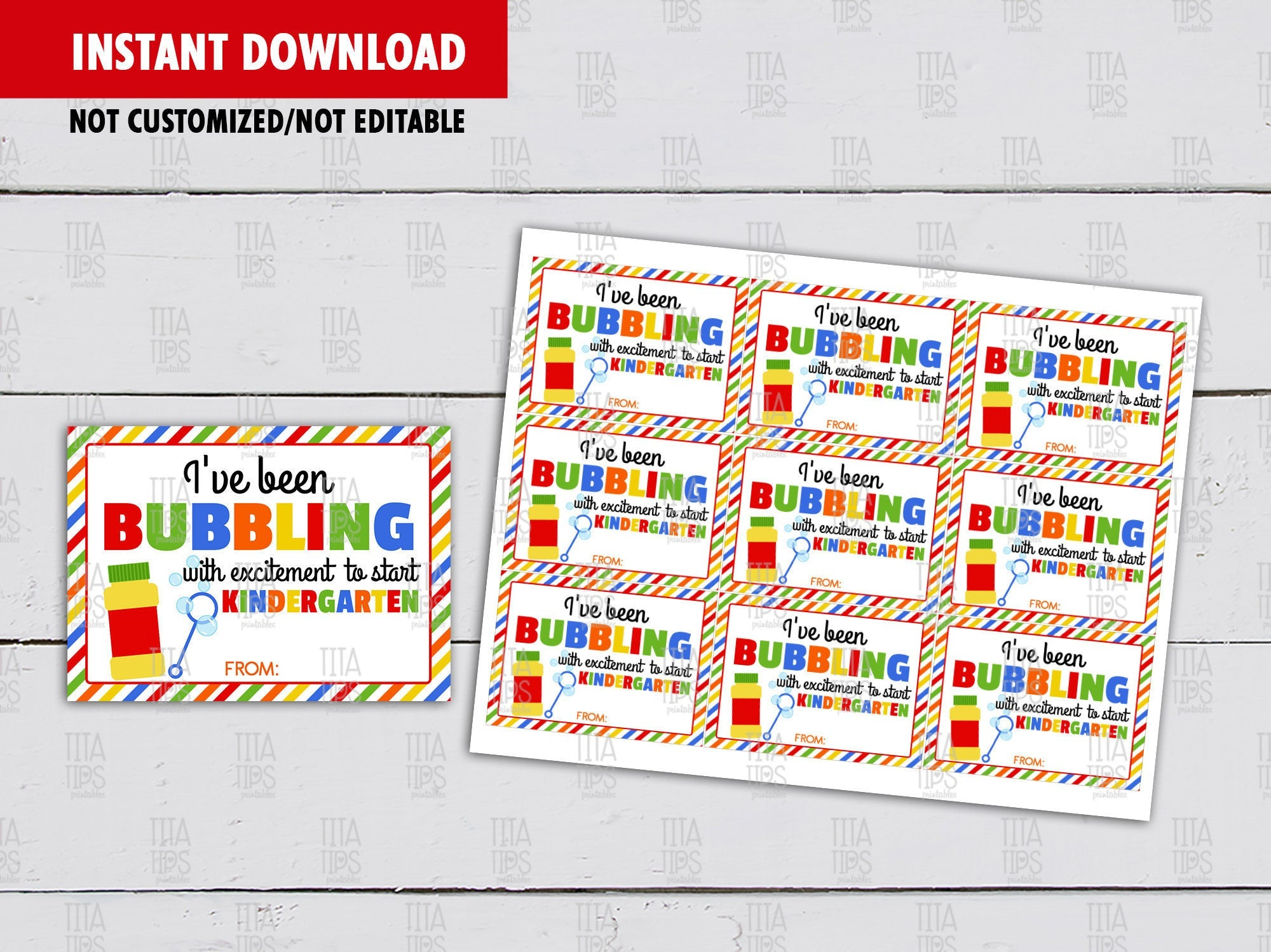 I've been bubbling with excitement to start Kindergarten, Classmates Gifts Ideas, Instant Download - TitaTipsPrintables