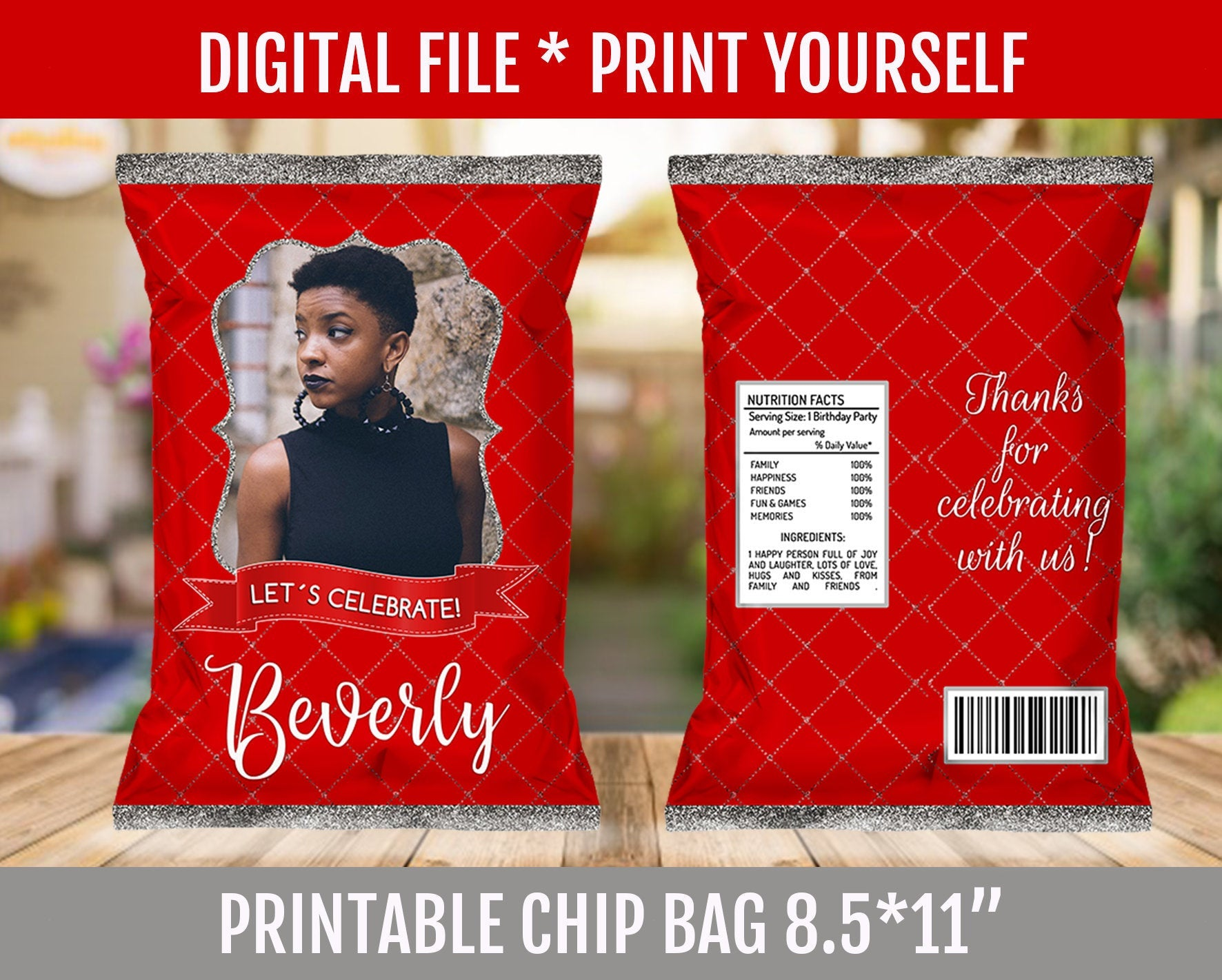30th Birthday Party Chip Bag, Adult Red and Silver Favor Bags, ANY AGE, Customized Potato Chip Bag, Digital File - TitaTipsPrintables
