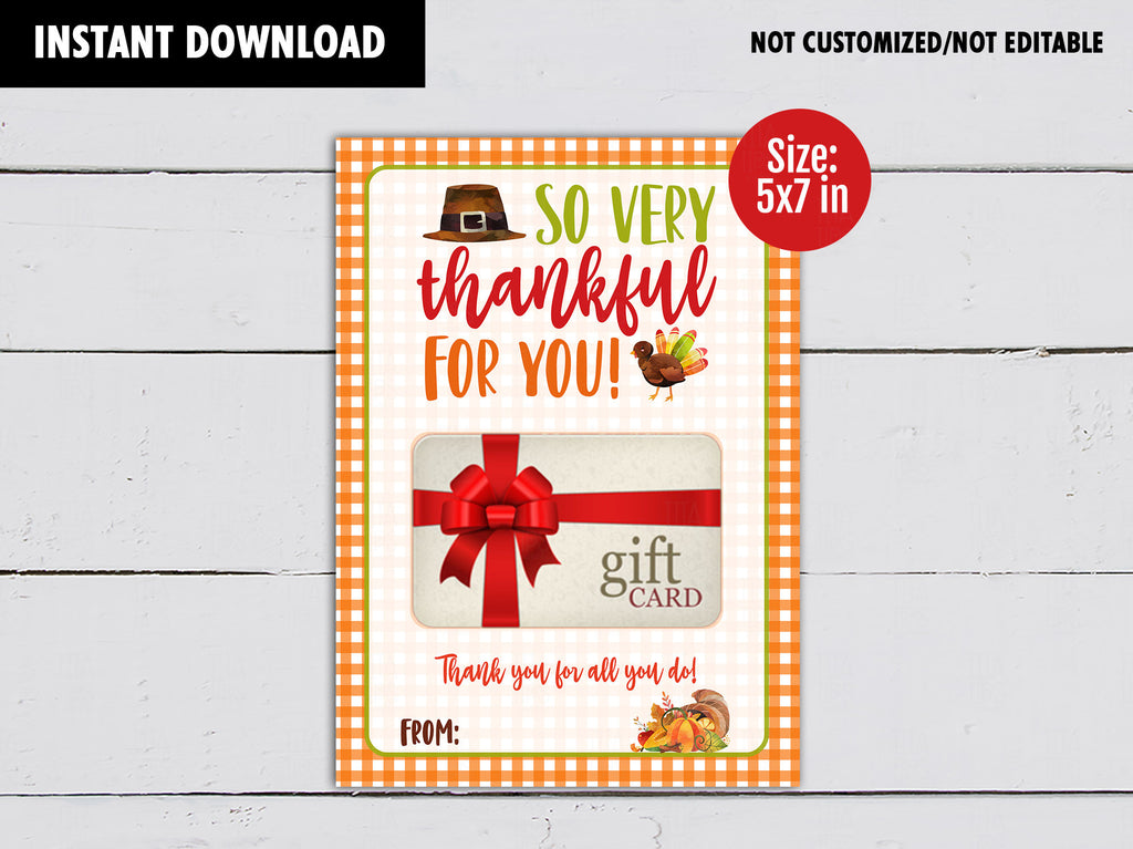 Thanksgiving gift card holder, Thanks for all you do Printable Card, DIGITAL DOWNLOAD - TitaTipsPrintables