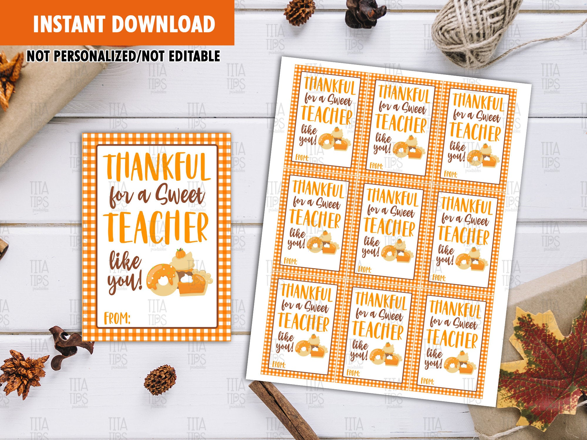 Sweet Teacher Favor Tags, Pumpkin Pie, Cupcake, Donuts Printable Card, Instant Download - TitaTipsPrintables
