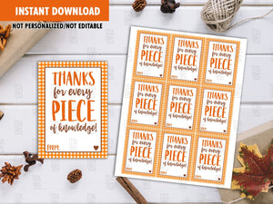 Thanks for every piece of knowledge Favor Tags, Printable Card, Instant Download - TitaTipsPrintables
