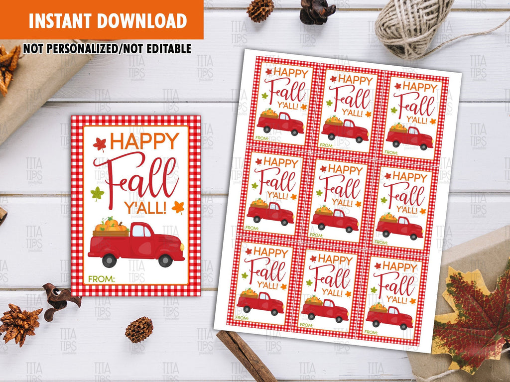 Happy Fall Y'all Favor Tags, Happy Thanksgiving Printable Card, Red Truck with Pumpkins, Instant Download - TitaTipsPrintables