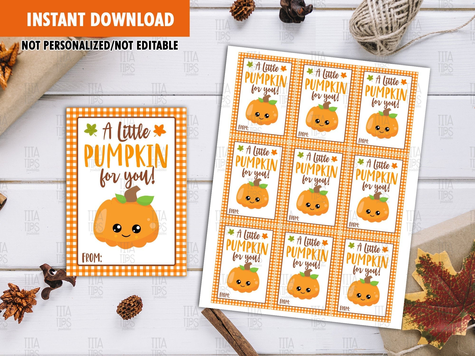 A Little Pumpkin For You Favor Tags, Thanksgiving Printable Card, Instant Download - TitaTipsPrintables