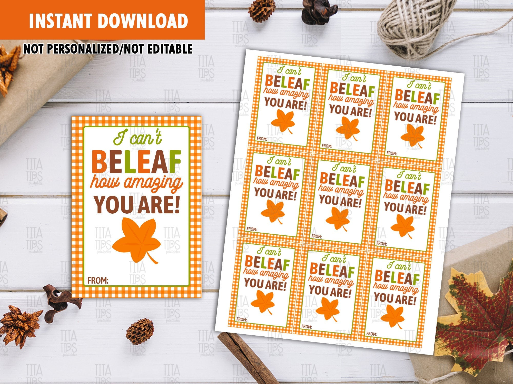 I Can't Beleaf how amazing you are Favor Tags, Autumn Leaves Printable Card, Instant Download - TitaTipsPrintables