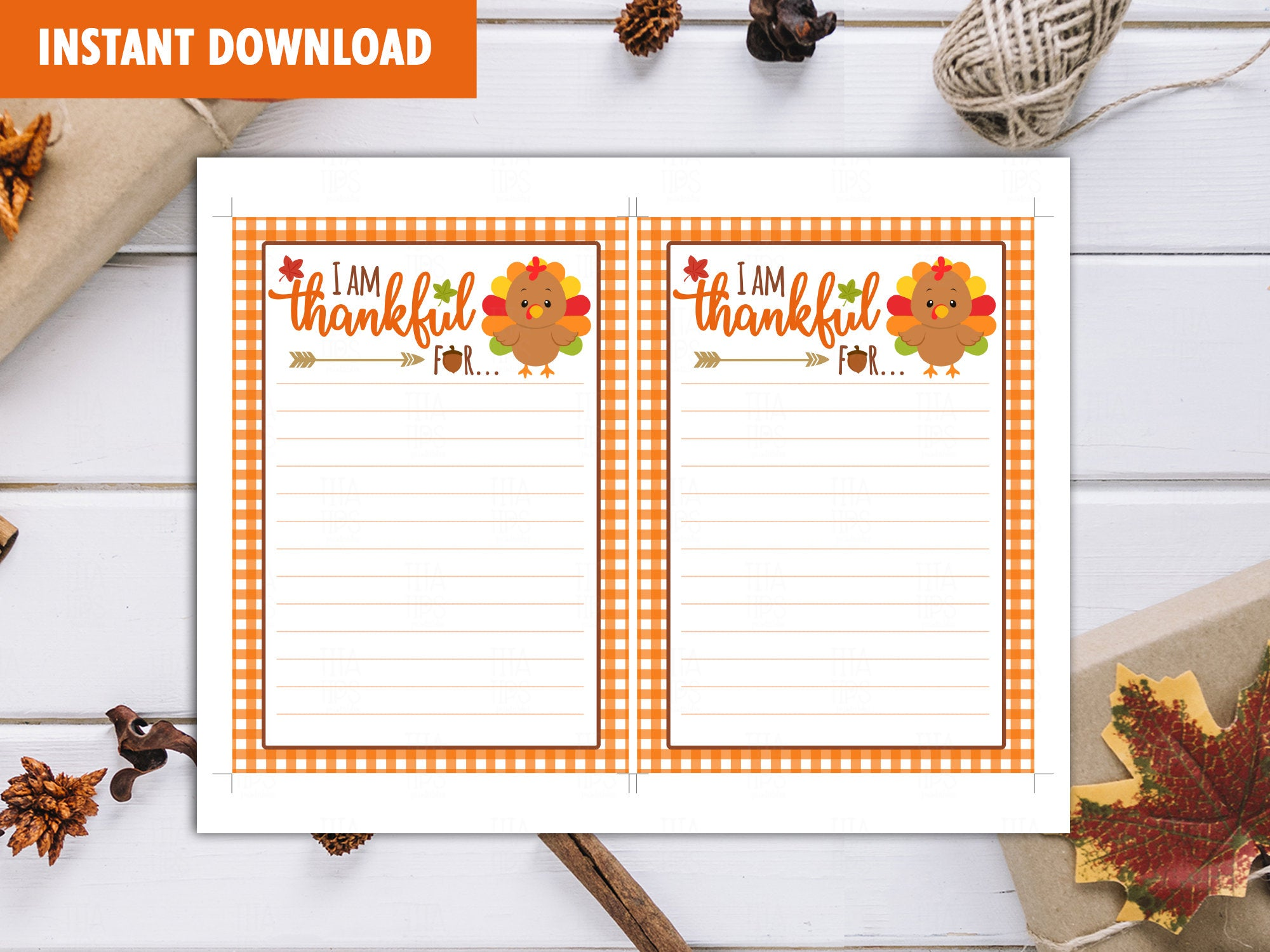 Turkey Thanksgiving Stationery, Bullet Journal Pages, Journaling Sheets, Writing Prompts. - TitaTipsPrintables