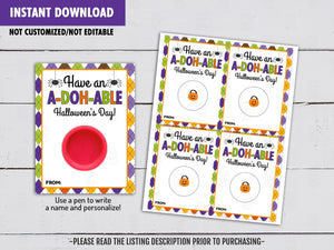 Have an ADOHABLE Halloween's Day! Play Dough Card DIY Printable, Exchange Tag, Neighbor Gift, Instant Download - TitaTipsPrintables