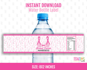 Breast Cancer Water Bottle Label, Awareness, Survivor Support Gift Ideas, Instant Download - TitaTipsPrintables