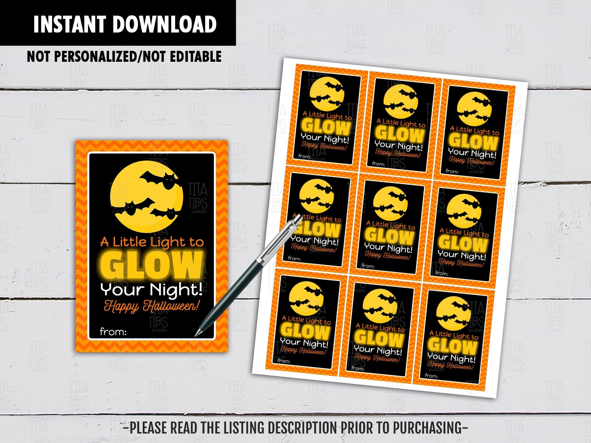 A Little Light to Glow your Night, Halloween Gift Tags Ideas, Glow stick card, Instant Download - TitaTipsPrintables