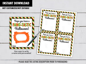 Hope you have a Fang-Tastic Halloween! Vampire Teeth Holder Card, Printable Exchange Tag, Instant Download - TitaTipsPrintables
