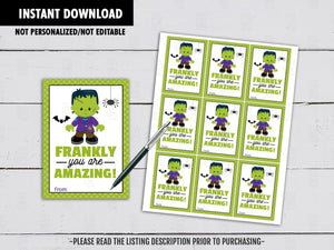 Frankly you are Awesome!, Frankenstein Gift Tags Ideas, Halloween Party Favors Tags, Neighbor Gift, Instant Download - TitaTipsPrintables