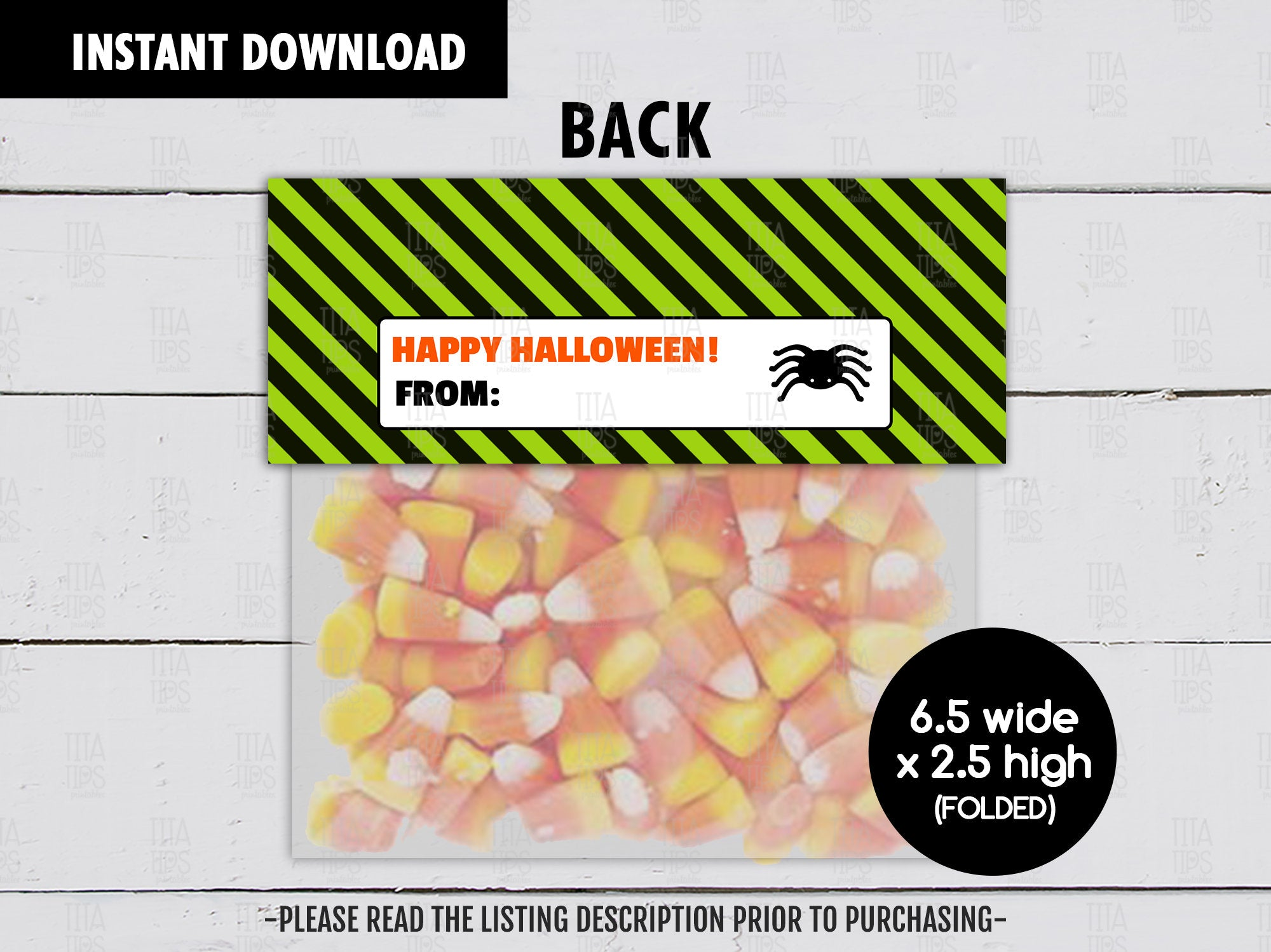 Spooky Sweets Treat Bag Topper, Printable Halloween Night Goodies Bag, Instant Download - TitaTipsPrintables