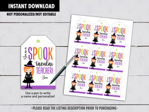 You're a SPOOKTACULAR Teacher Gift Tags IdeasParty Favors Tags, Neighbor Gift, Instant Download - TitaTipsPrintables