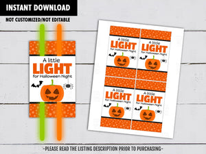 A Little Light for Halloween Night, Halloween Gift Tags Ideas, Pumpkin Glowstick holder,  Instant Download - TitaTipsPrintables