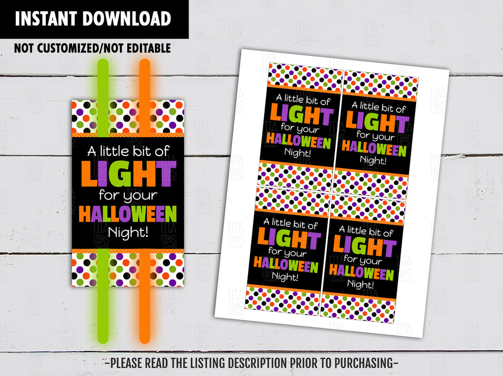 A Little Bit of Light for your Halloween Night, Halloween Gift Tags Ideas, Glowstick holder,  Instant Download - TitaTipsPrintables