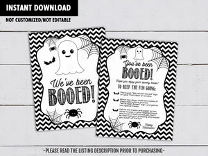 We've Been Booed Sign, You've Been Booed Game, Neighbor Secret Treats, Halloween Night Printables, Instant Download - TitaTipsPrintables