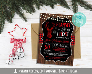 Editable Flannel and Frost Invitation,  Rustic Wood Printable Invite, Christmas Party Corjl Template, Instant Access, DIGITAL - TitaTipsPrintables