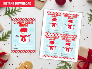 Frosty Candy Cane Gram Christmas Tags,  Snowman Favor Tags for Kids, Christmas Gift Tag Ideas, INSTANT DOWNLOAD - TitaTipsPrintables