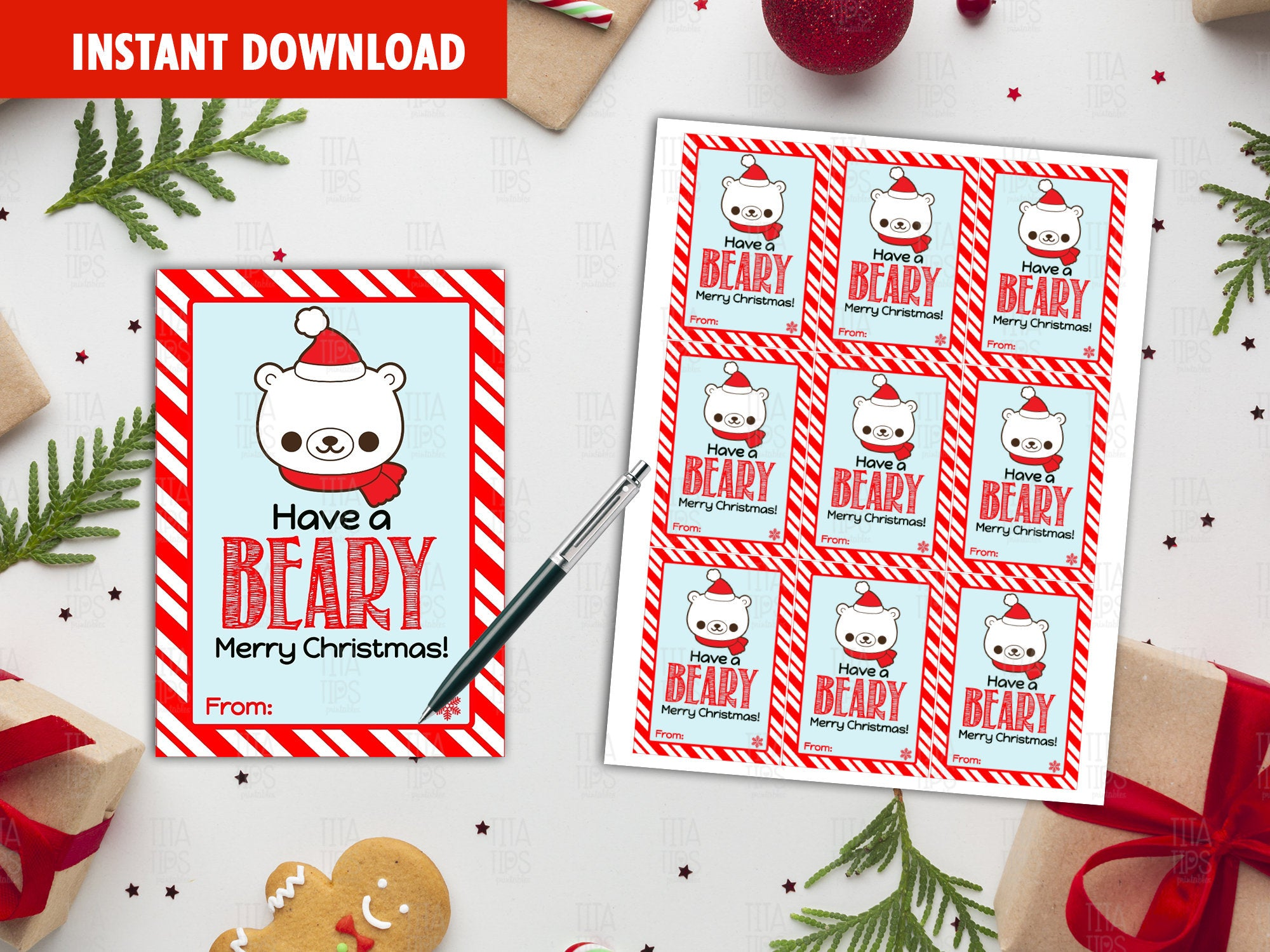 Have a Beary Merry Christmas Favor Tags, Happy Holidays Printable Card, Instant Download - TitaTipsPrintables