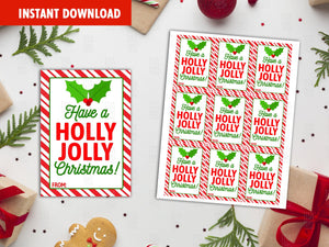 Have a Holly Jolly Christmas Favor Tags, Gingerbread man tags, Happy Holidays Printable Card, Instant Download - TitaTipsPrintables