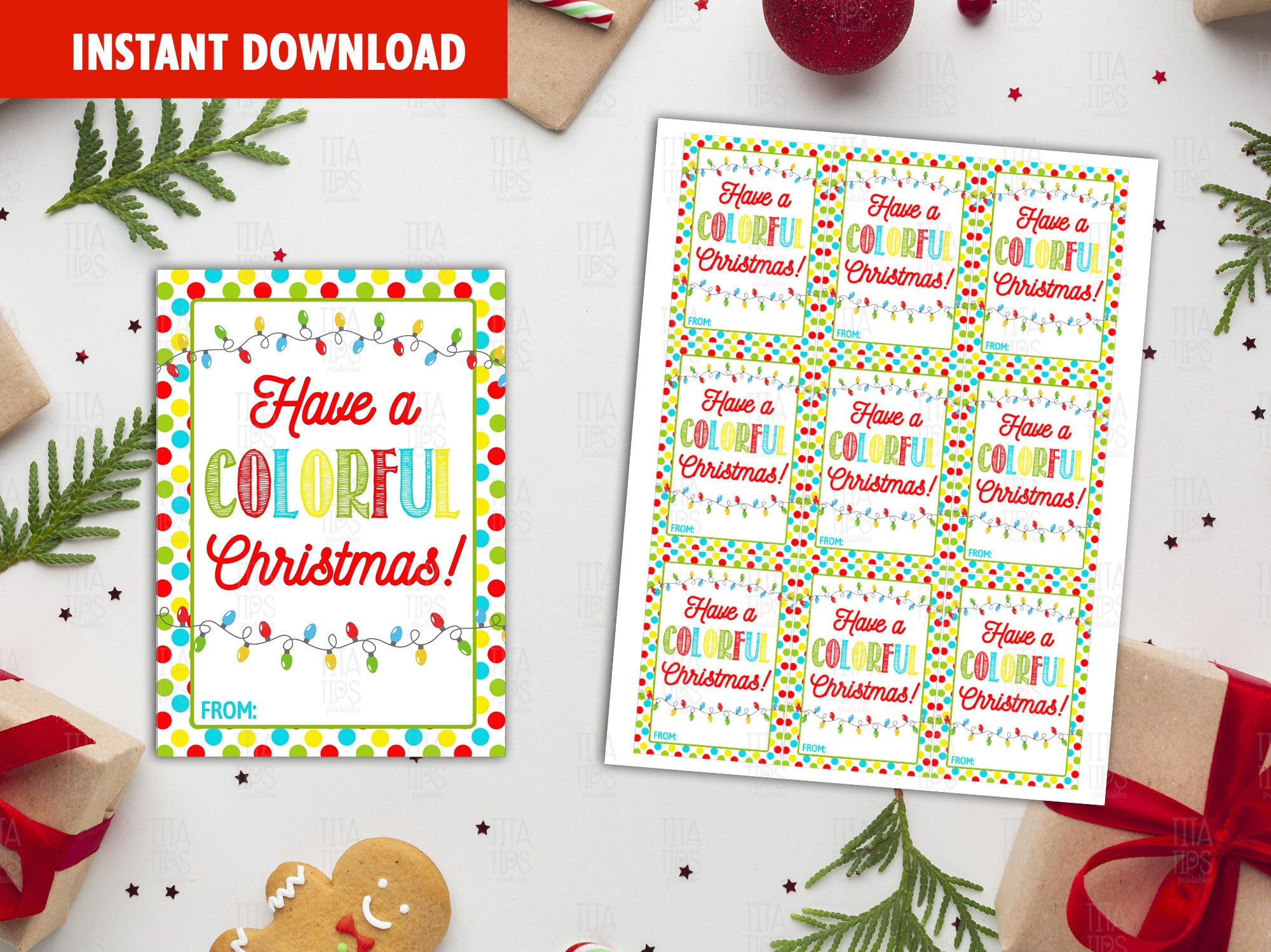 Have a Colorful Christmas Favor Tags, Christmas Lights Bulbs Printable Card, Instant Download - TitaTipsPrintables