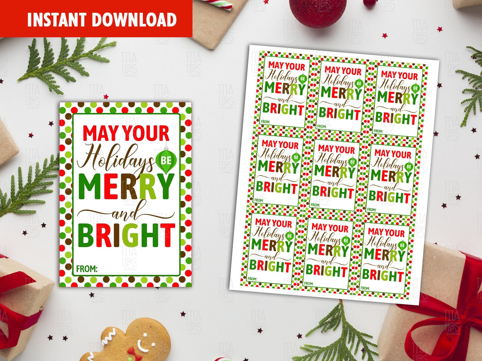 May Your Holidays Be Merry And Bright,  Christmas Printable Card, Instant Download - TitaTipsPrintables