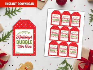 Hope your Holidays Bubble with fun Favor Tags, Merry Christmas Printable Card, Instant Download - TitaTipsPrintables