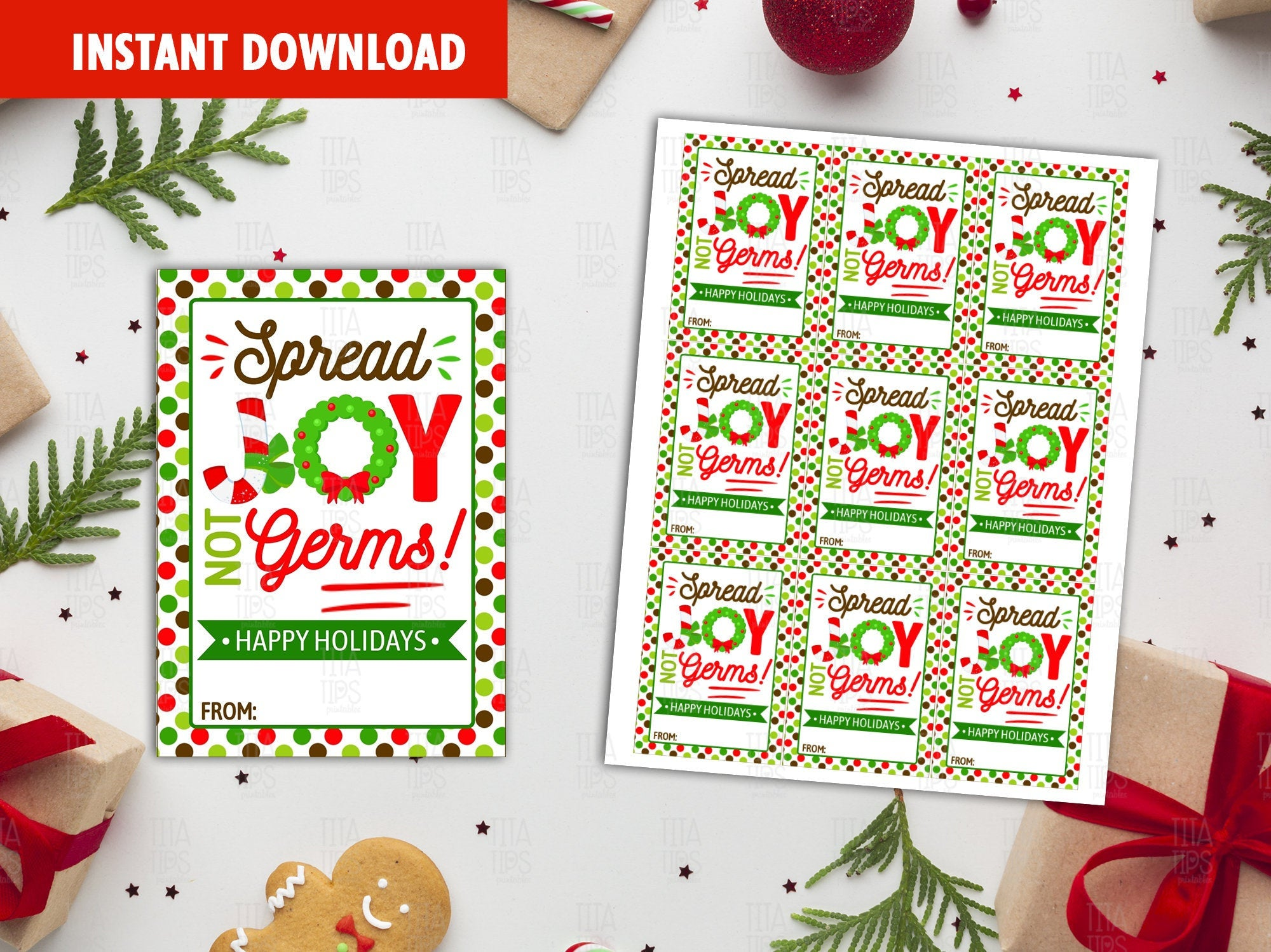 Spread Joy not Germs Printable Card, Merry Christmas Favor Tags, Classmate Holidays Exchange, Instant Download - TitaTipsPrintables