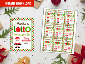 Thanks a LOTTO for all you do gift tags  Christmas Printable Card, Santa Claus, Ornament, Wreath,  Instant Download - TitaTipsPrintables