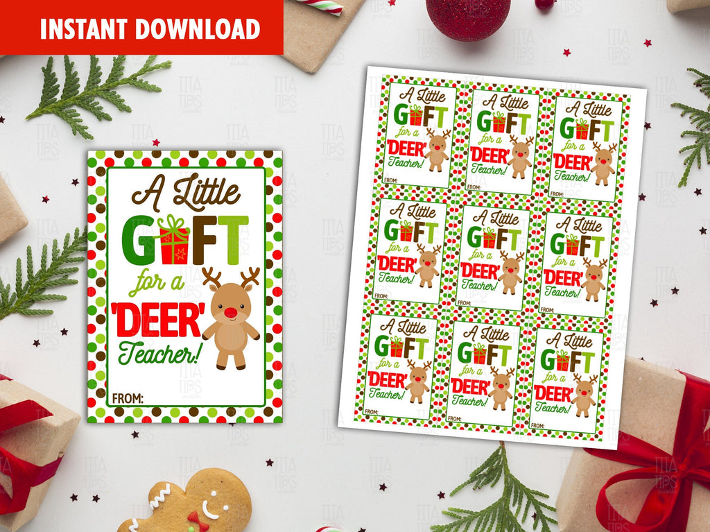 A little gift for a Deer Teacher Gift Tag, Christmas Printable Card, Reindeer Favor Tags, Instant Download - TitaTipsPrintables