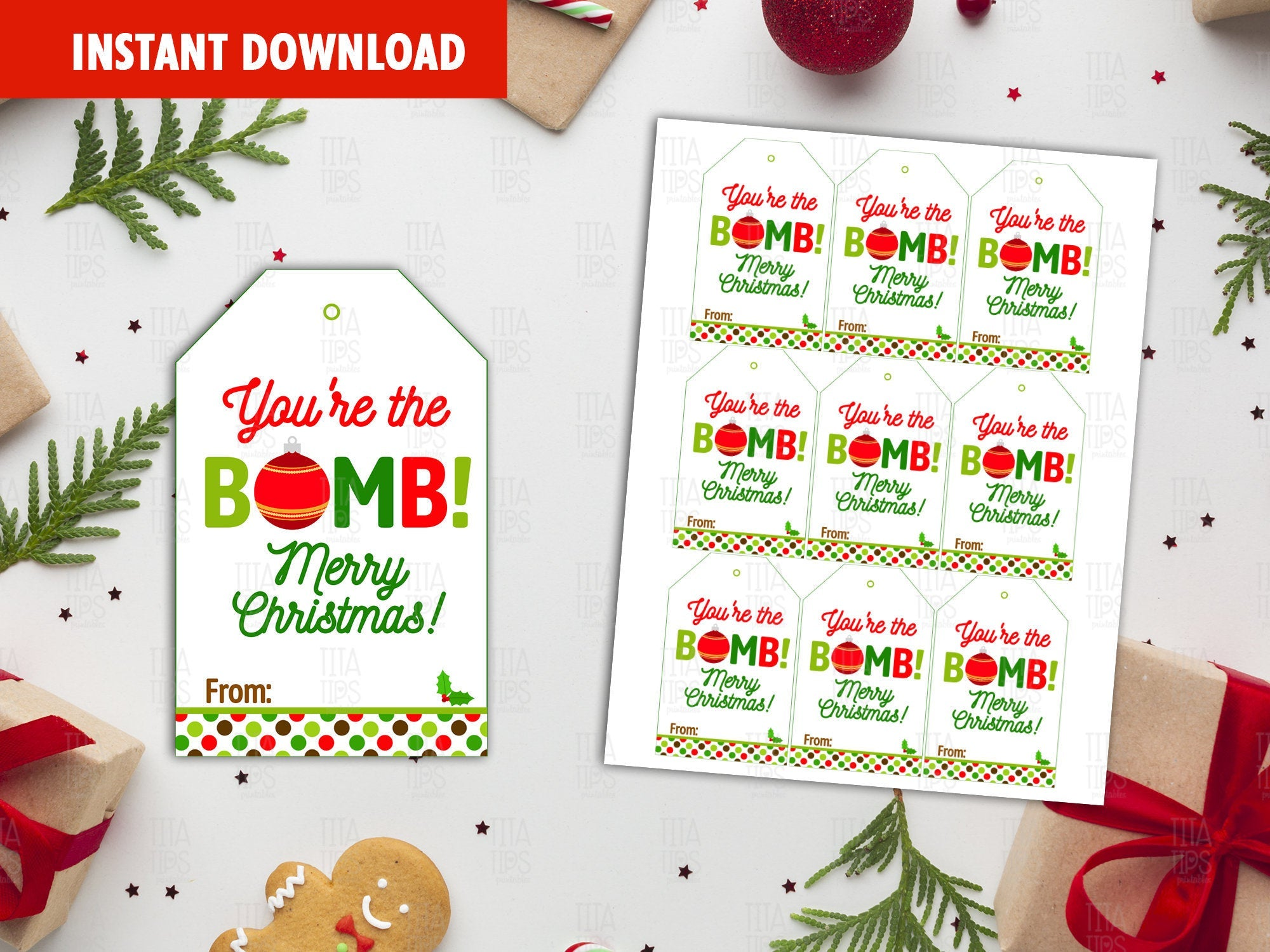 You're the BOMB Gift Tag, Merry Christmas Printable Card, Classmate Holidays Exchange, Instant Download - TitaTipsPrintables