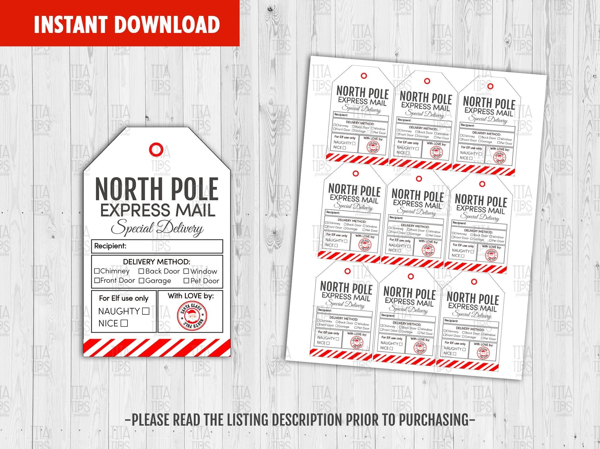 North Pole Special Delivery Tags, Santa Nice List, Merry Christmas Printable Card, Classmate Holidays Exchange, Instant Download - TitaTipsPrintables