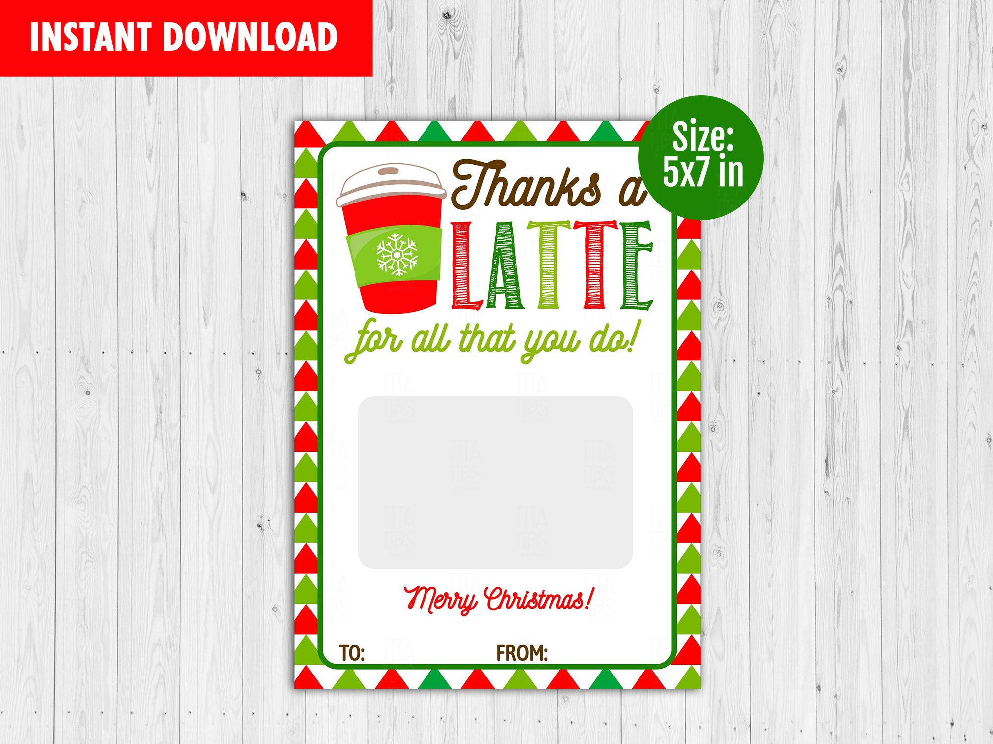 Thanks a Latte Gift Card Holder, Printable Merry Christmas Card, Instant Download - TitaTipsPrintables