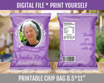 90th Birthday Party Chip Bag, Adult Favor Bags, ANY AGE, Customized Potato Chip Bag, Purple, Lavender, Lilac DIGITAL FILE - TitaTipsPrintables