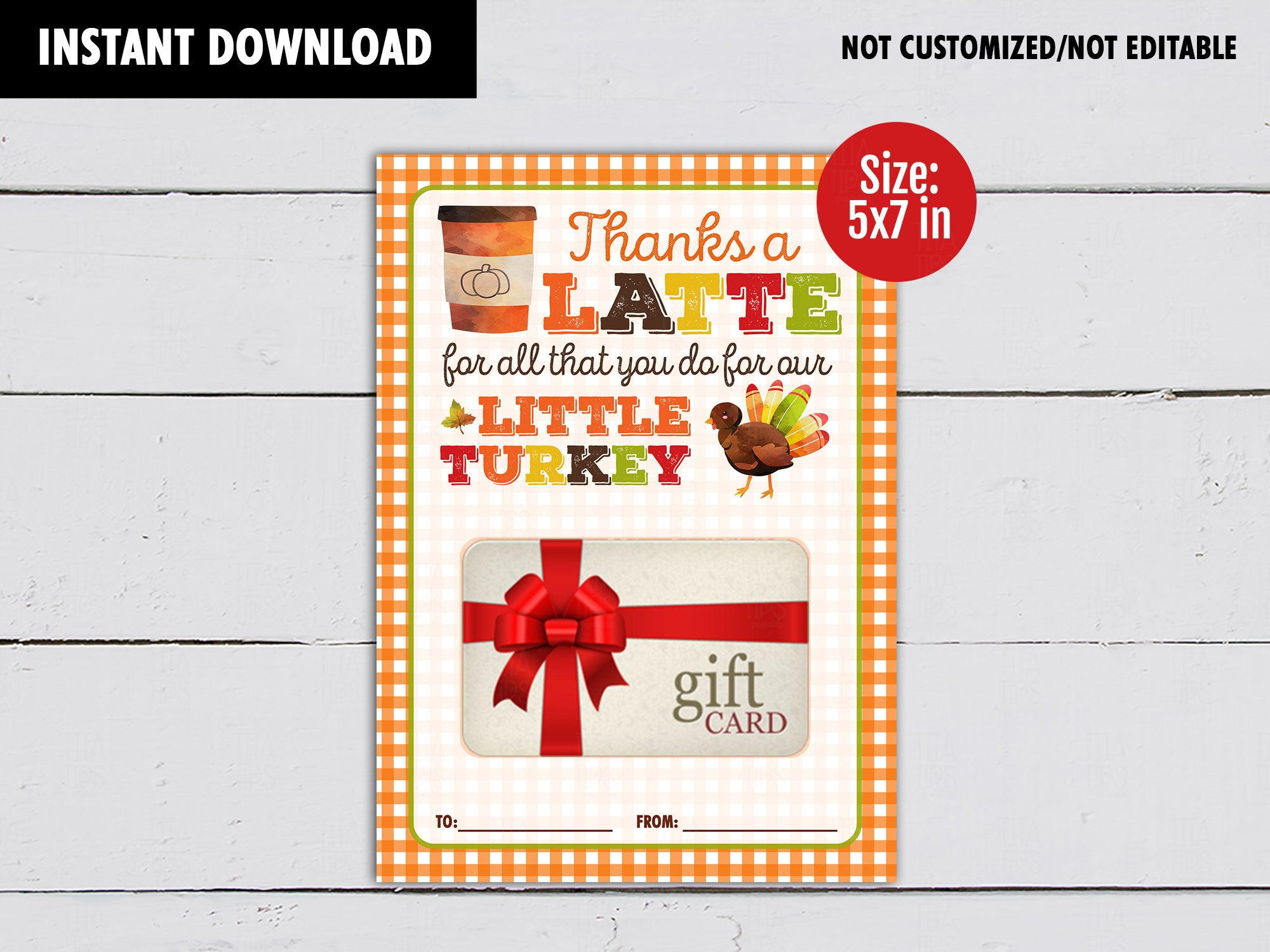 Thanks a Latte for all you do gift card holder, Little Turkey Printable Card, DIGITAL DOWNLOAD - TitaTipsPrintables