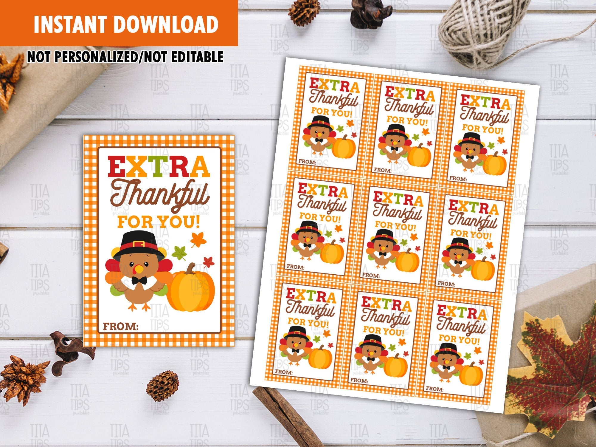 Extra Thankful for you Gift Tags, Turkey with Hat Favors Tags, Autumn Exchange Ideas - TitaTipsPrintables