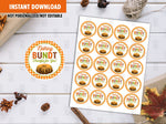 Bundt Gift Tags, Happy Thanksgiving Favor Tag, Printable Circle Card, 2 inches,  DIGITAL DOWNLOAD - TitaTipsPrintables