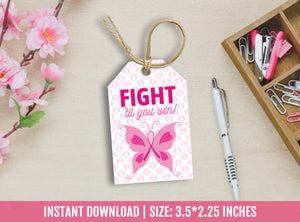 Breast Cancer Thank You Tags, Butterfly favor tags, Awareness, Survivor Support Gift Tag Ideas, [INSTANT DOWNLOAD] - TitaTipsPrintables