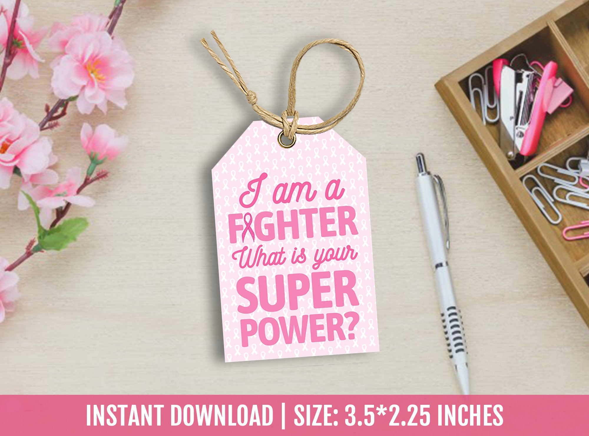 Breast Cancer Thank You Tags, Superpower favor tags, Awareness, Survivor Support Gift Tag Ideas [INSTANT DOWNLOAD] - TitaTipsPrintables